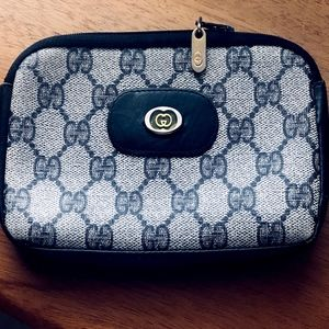 "GUCCI ""GG"" MONOGRAM CANVAS & LEATHER WALLET/POUCH"